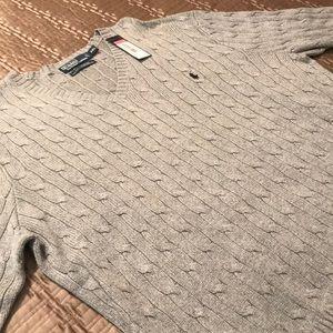 NEW Polo men's sweater, gray tussah silk, XXL